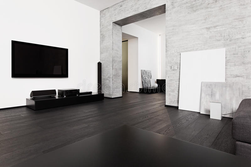 Minimalism style drawing-room interior. Modern minimalism style drawing-room interior in black and white tones royalty free stock photo