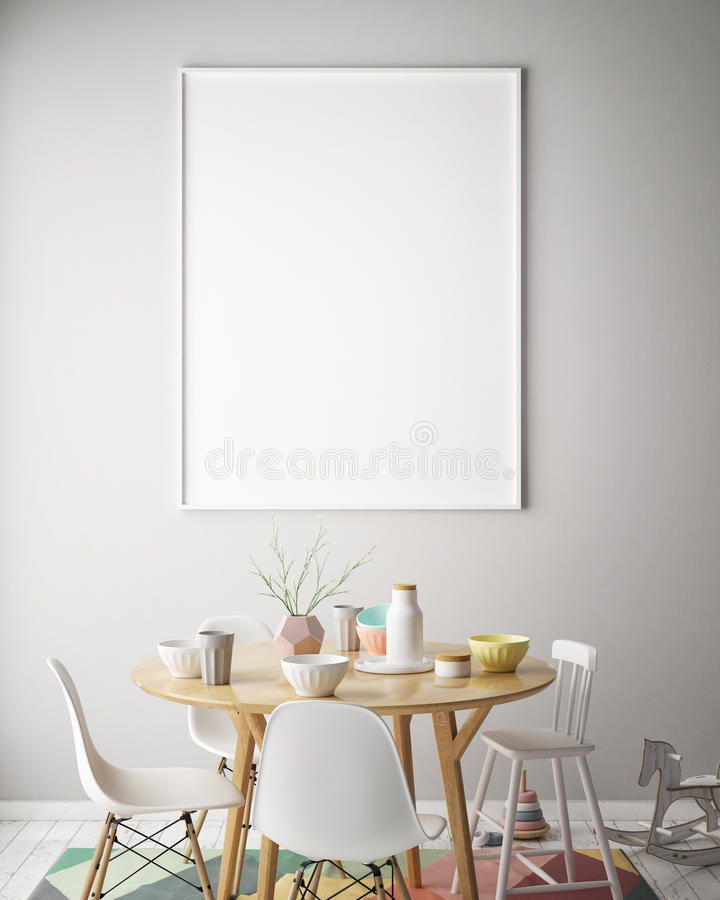 Mock up poster frame in children bedroom, scandinavian style interior background, 3D render stock illustration
