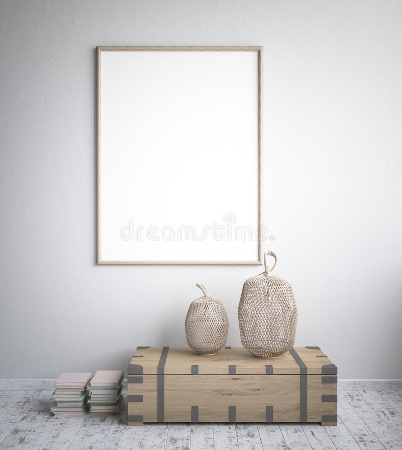 Mock up poster frame, interior minimalism, Scandinavian design. 3d render royalty free illustration