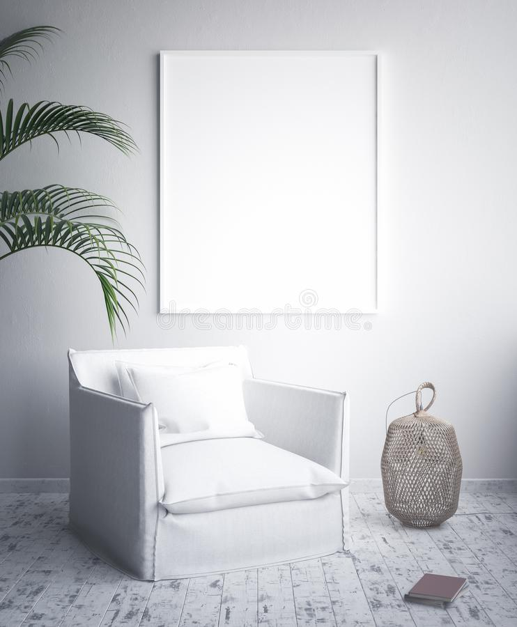 Mock up poster frame, interior minimalism, Scandinavian design. 3d render vector illustration