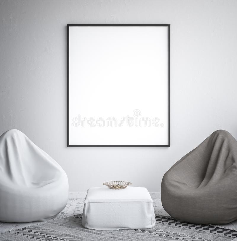 Mock up poster frame, interior minimalism,Scandinavian design. 3d render royalty free stock photos