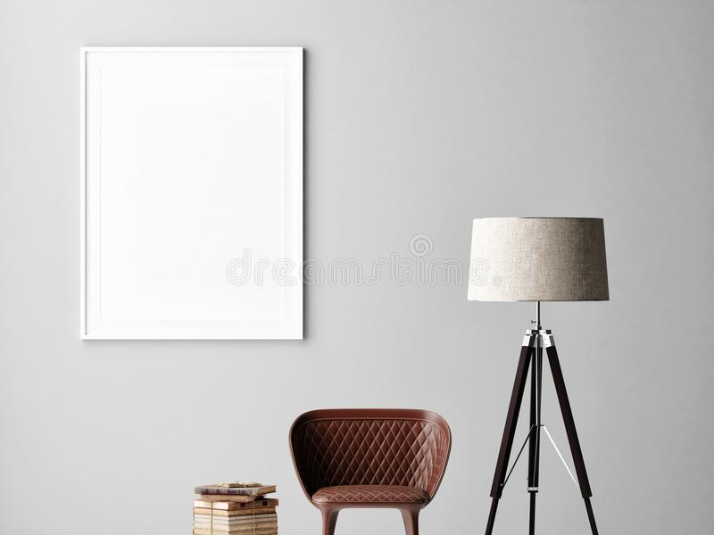 Mock up poster on gray wall, interior minimalism design, lamp, chair, books. 3d render, 3d illustration royalty free illustration