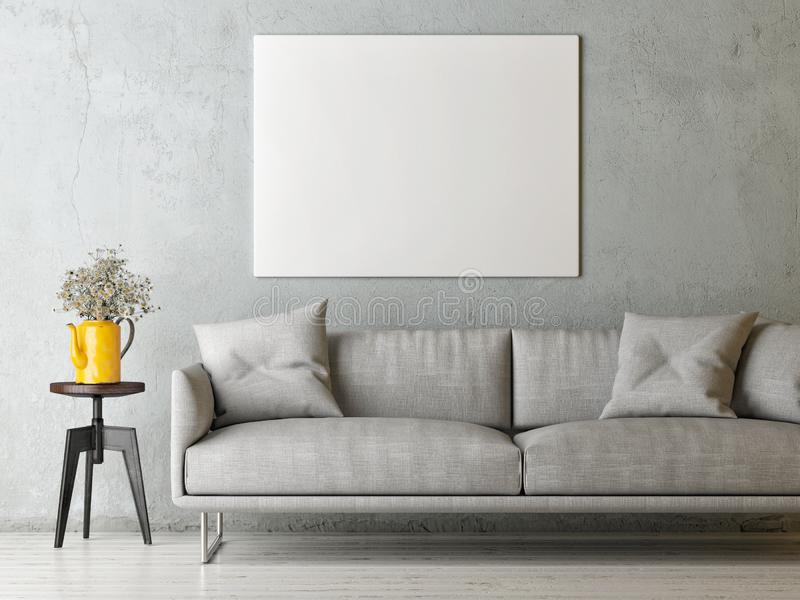 Mock up poster in minimalism concept Living room, Scandinavian  design. Mock up poster in minimalism concept Living room, Scandinavian, 3d render, 3d stock illustration