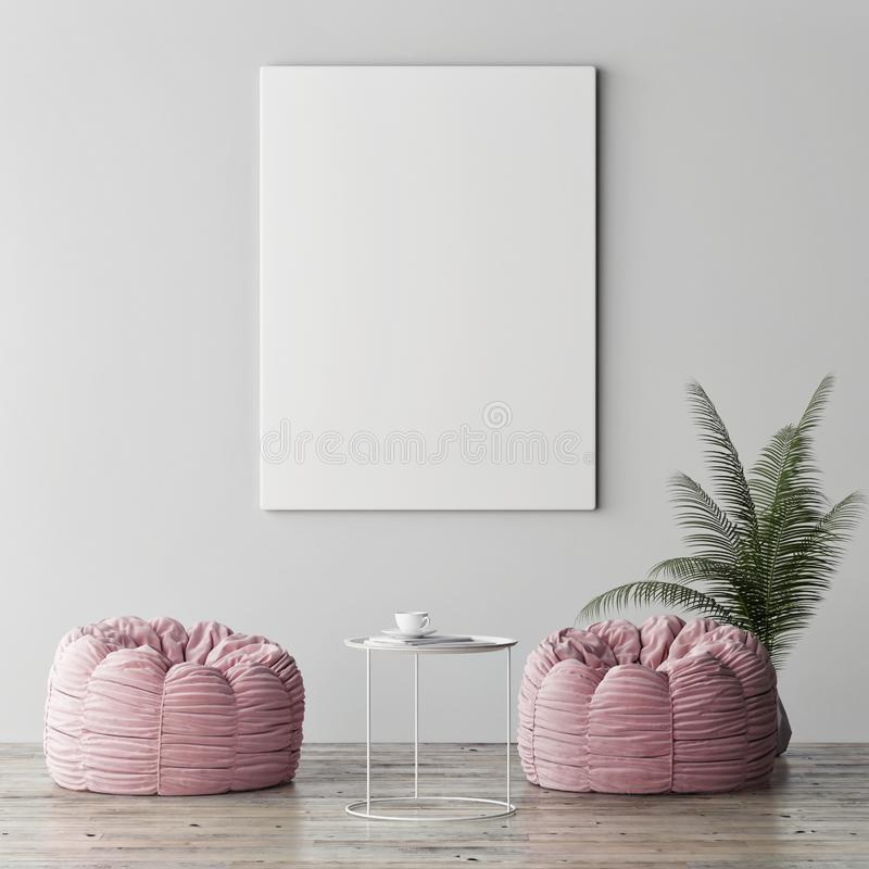 Mock up poster, minimalism interior concept, two rose poufs with palm plant. 3d render, 3d illustration stock photo
