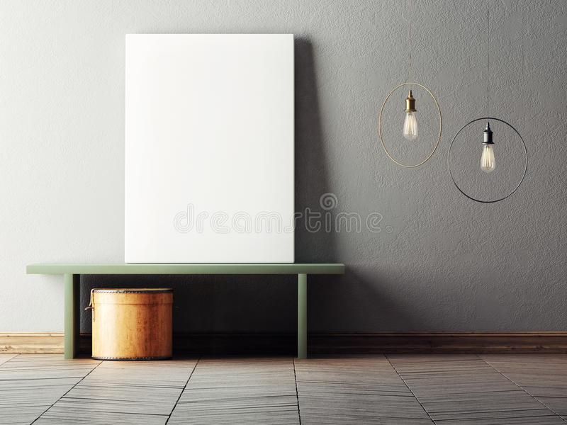 Mock up poster in minimalism interior design. 3d illustraton vector illustration