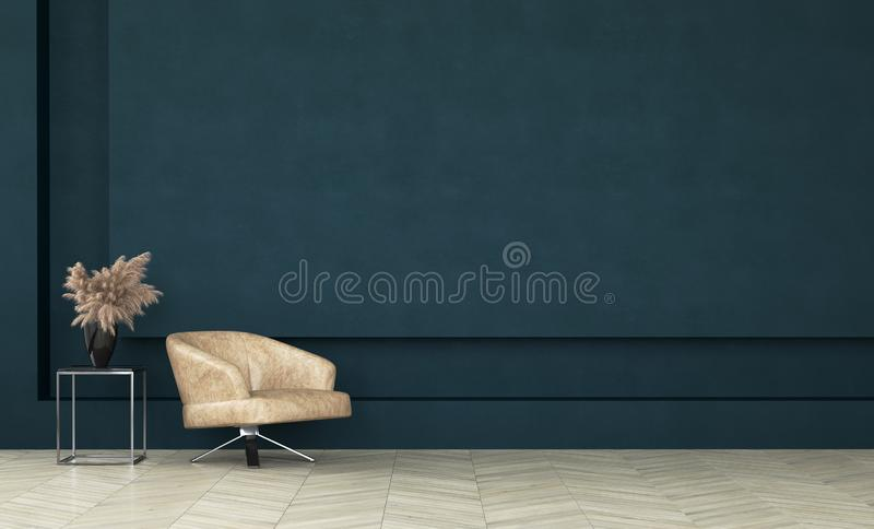 Modern dark green living room interior,wall mock up stock image