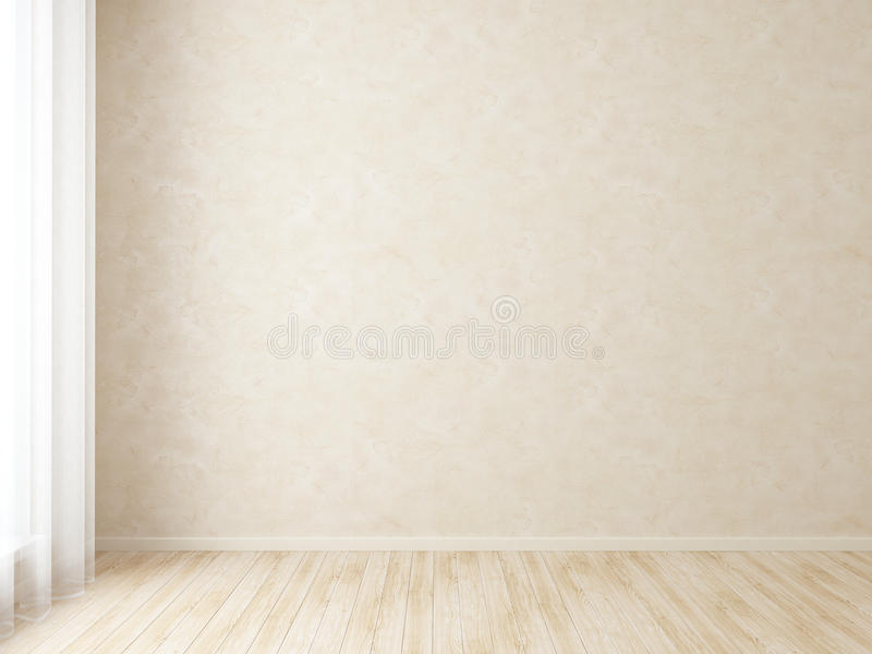 Modern Empty Interior Room. Modern interior room with white stucco wall and bright parquet royalty free illustration