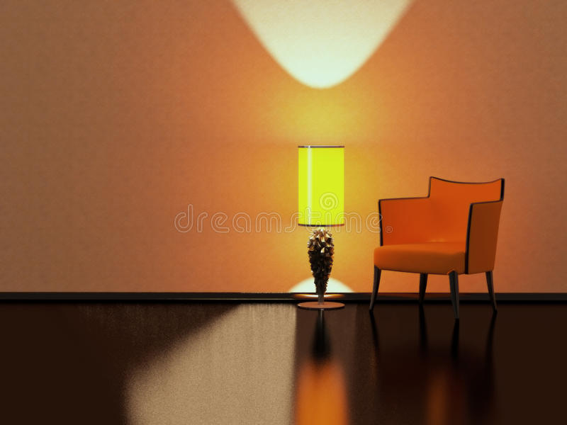 Modern interior design, minimalism. Modern interior design, red sofa yellow floor lamp in the empty black and red room, 3D render/illustration minimalism royalty free illustration