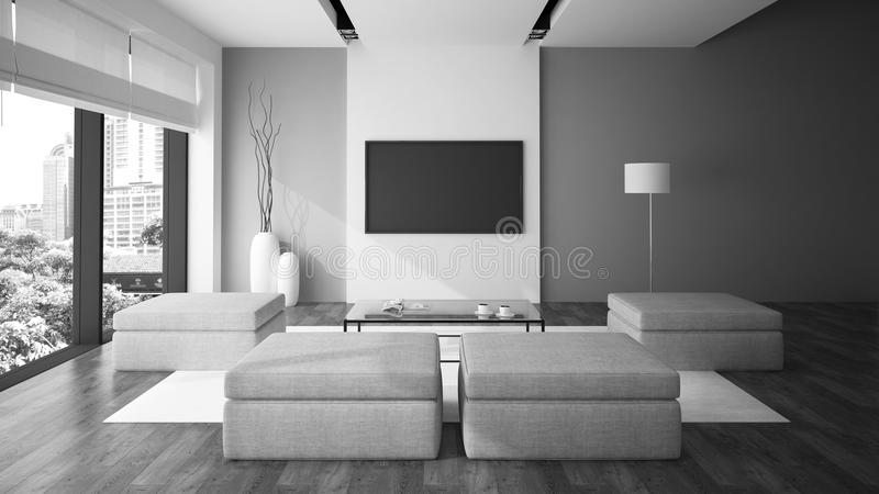 Modern interior in minimalism style. Black and white color 3D rendering royalty free illustration