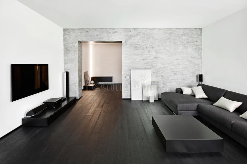 Modern minimalism style drawing-room interior. In black and white tones stock images