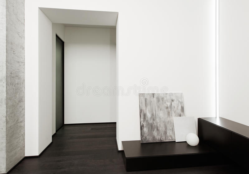 Modern minimalism style hall interior. In black and white tones royalty free stock photos