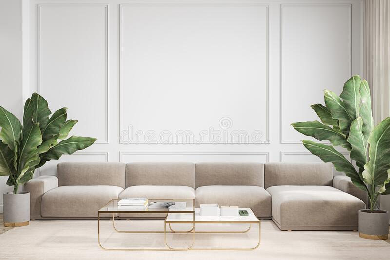 Modern minimalism white interior with couch, sofa, palm plants and coffee tables. 3d render illustration mock up vector illustration