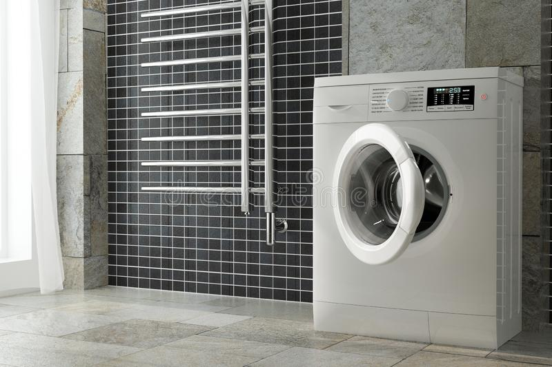 Modern White Washing Machine in Bathroom Interior. 3d Rendering stock photos
