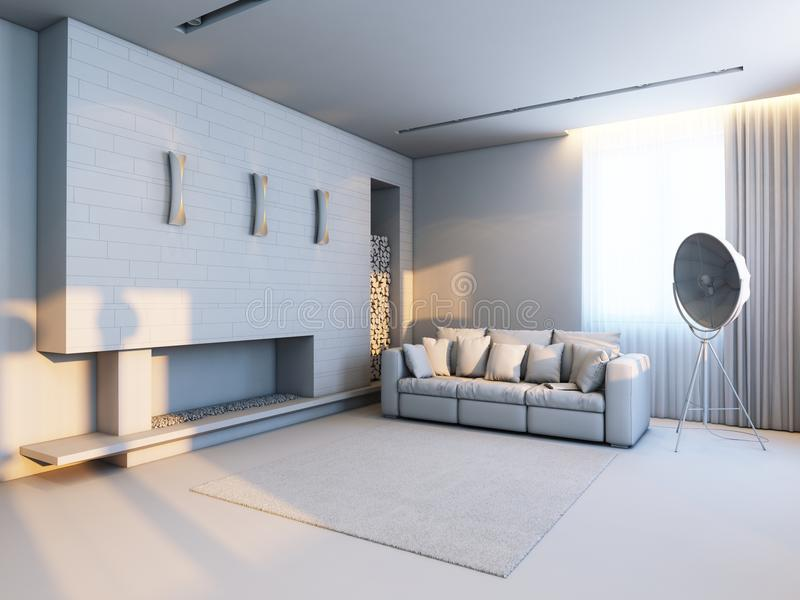New interior design in the style of minimalism. (light grey stock illustration