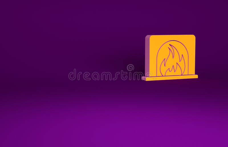 Orange Interior fireplace icon isolated on purple background. Minimalism concept. 3d illustration 3D render.  royalty free illustration
