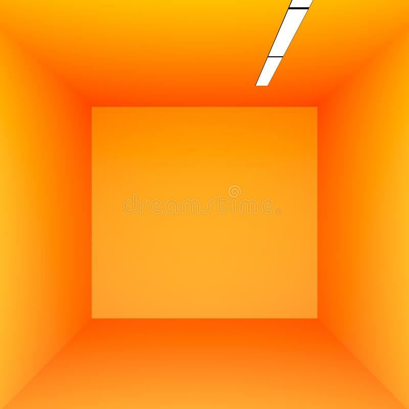 Orange room minimalism 3d render. Orange room minimalism with lights 3d render stock illustration