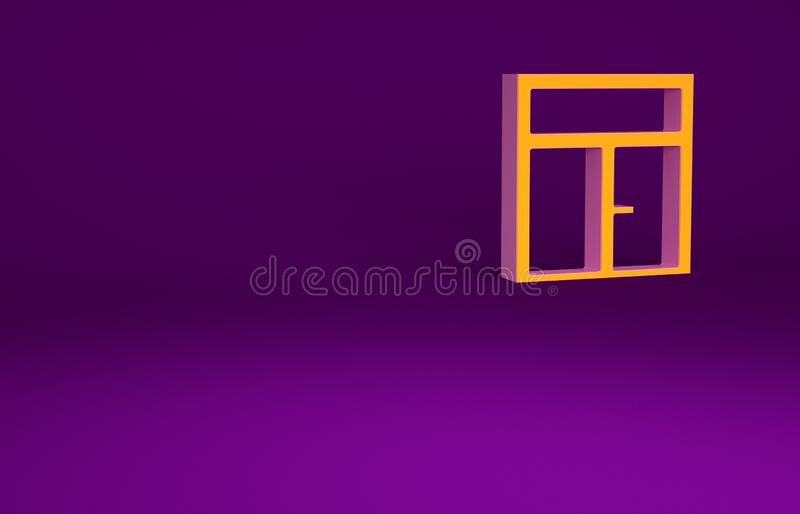 Orange Window in the room icon isolated on purple background. Minimalism concept. 3d illustration 3D render.  royalty free illustration