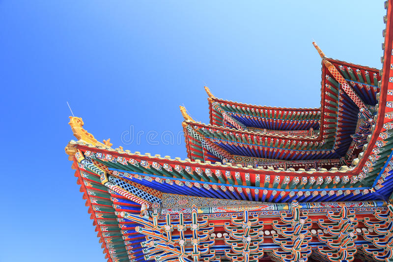 The patterned cornice of temple. Patterned cornice of maishansi temple,amoy city,china royalty free stock image