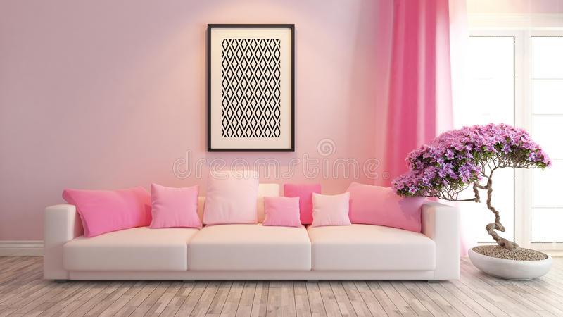 Pink living room or saloon interior design rendering stock illustration