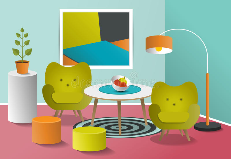 Pop art interior living room. Retro minimalism colorful design. Art cartoon vector vector illustration