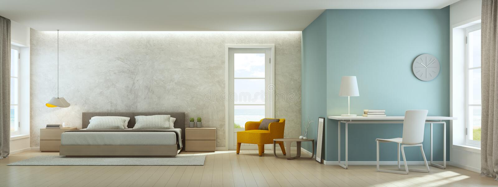 Sea view bedroom and living room in luxury beach house, Modern interior of home office royalty free stock photo