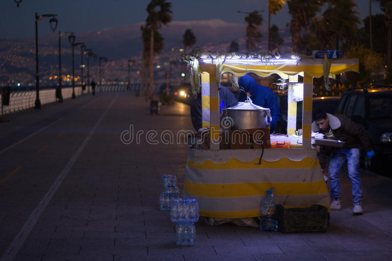 Street food in Beirut, Lebanon. Beirut, Lebanon - December 5, 2015: Street food point on famous cornice seaside in Beirut works 24/7 and cooker