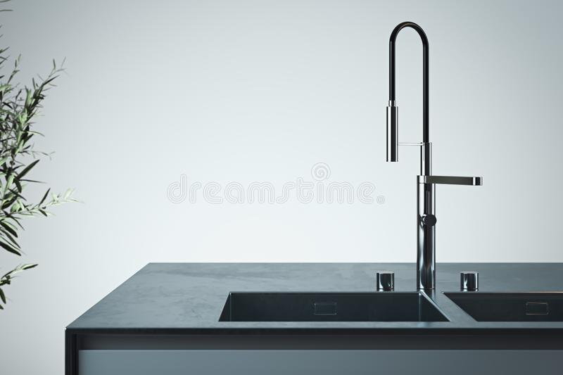 Stylish sink and water faucet tap. Interior of bright modern stylish kitchen. 3d rendering. Minimalism concept. Close up royalty free illustration