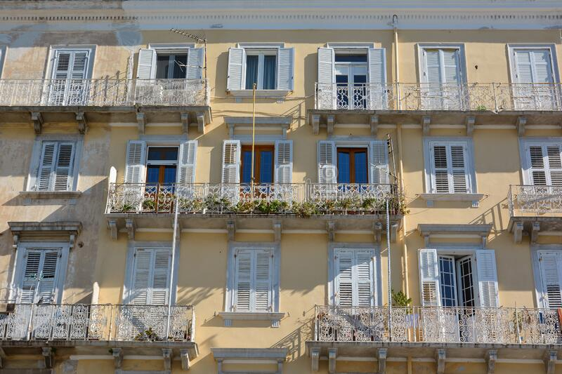 Traditional architecture of Corfu town, Grece. Close-up of the facade of an old buildings stock photos