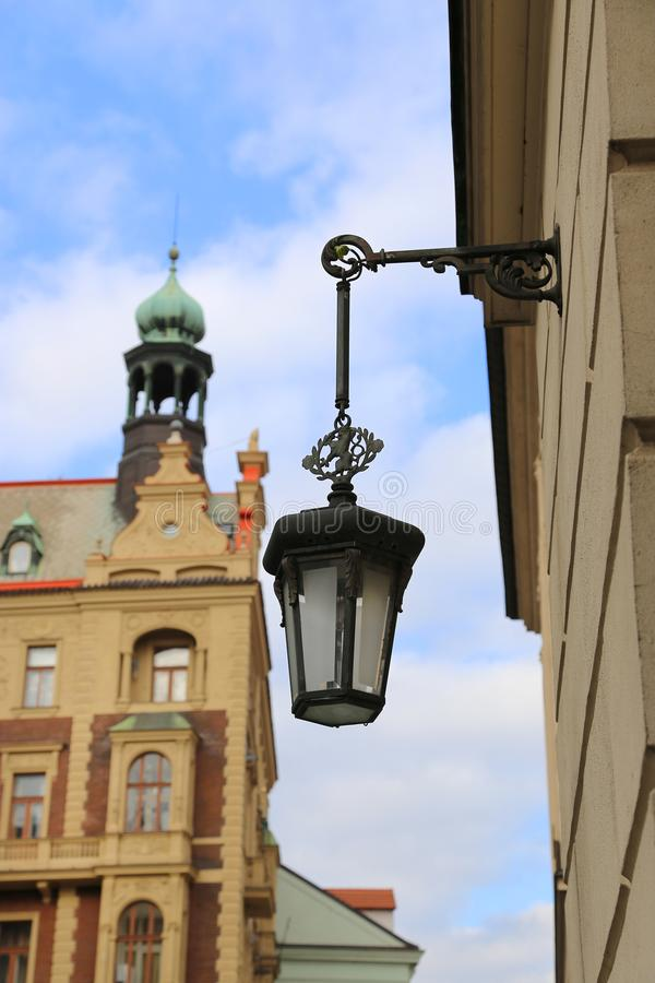 Traditional vintage street lamp and architecture of Prague stock photos