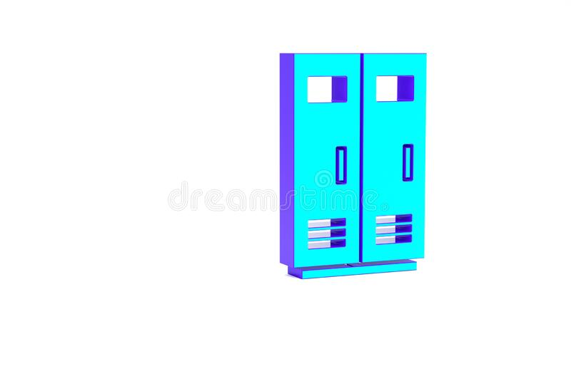 Turquoise Locker or changing room for football, basketball team or workers icon isolated on white background. Minimalism. Concept. 3d illustration 3D render stock illustration