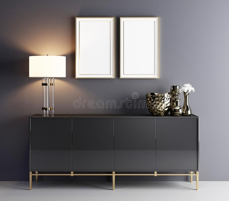 Two poster in luxury interior, minimalism concept interior. 3d illustration stock illustration