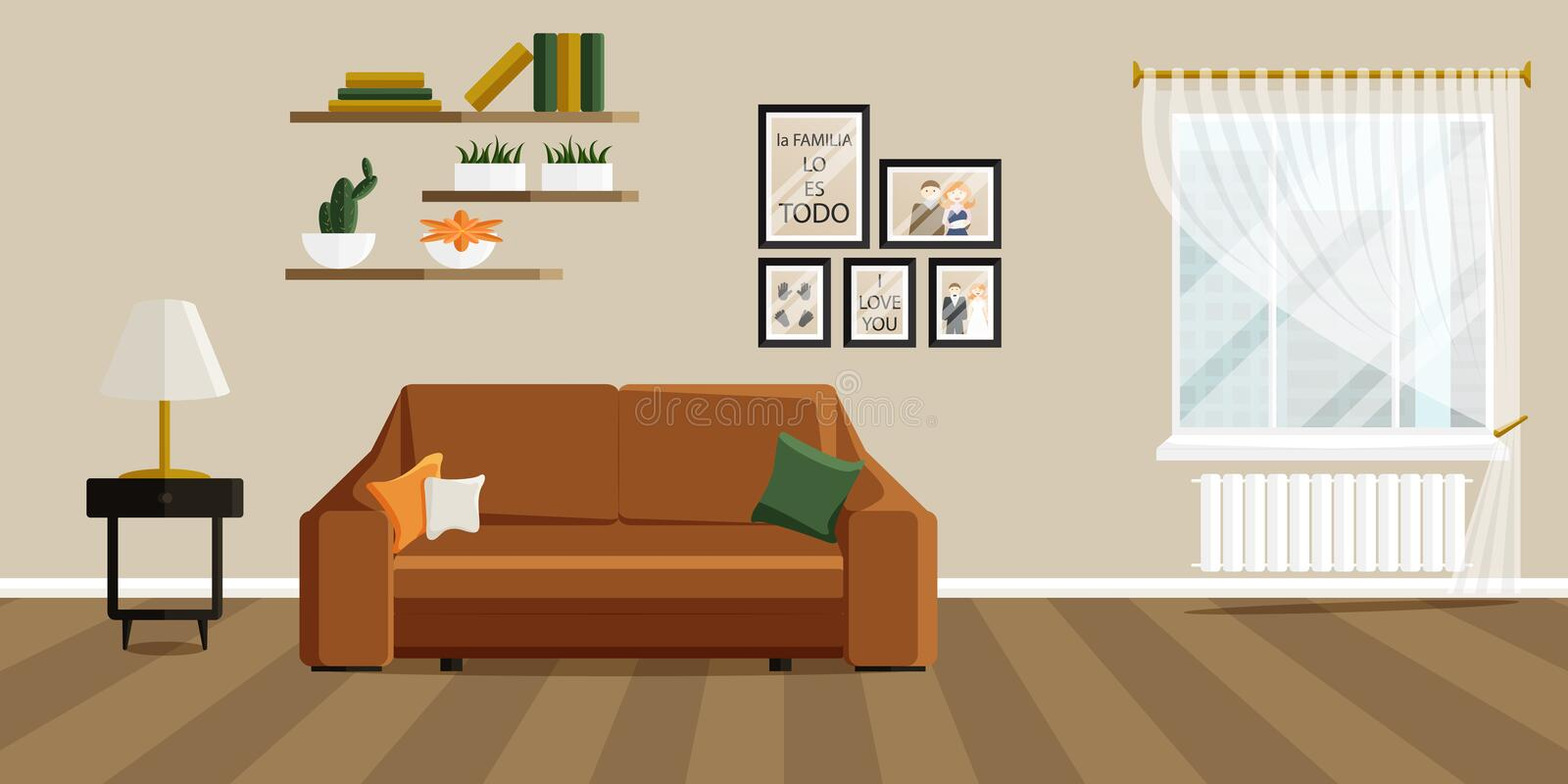 Vector illustration of Living Room in Flat Style stock photo