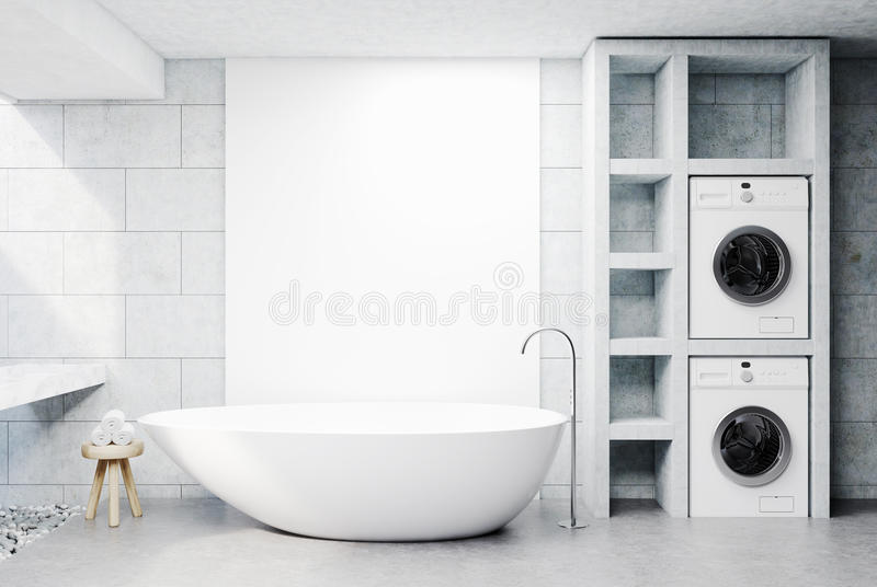 Washing machine bathroom, concrete. Modern bathroom interior with concrete walls and floor, a sink, a white tub and two washing machines. A chair with rolled stock illustration