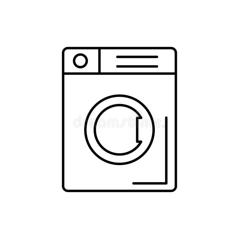 Washing machine, bathroom icon. Simple line, outline vector bathroom icons for ui and ux, website or mobile application. On white background stock illustration