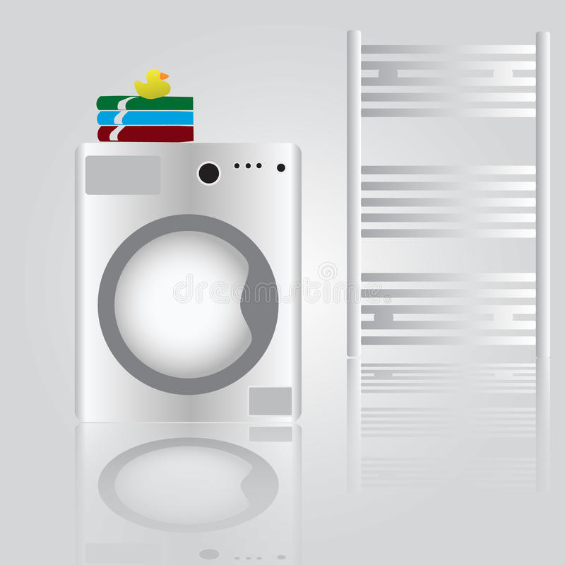 Washing machine in bathroom. White washing machine in bathroom eps10 vector illustration