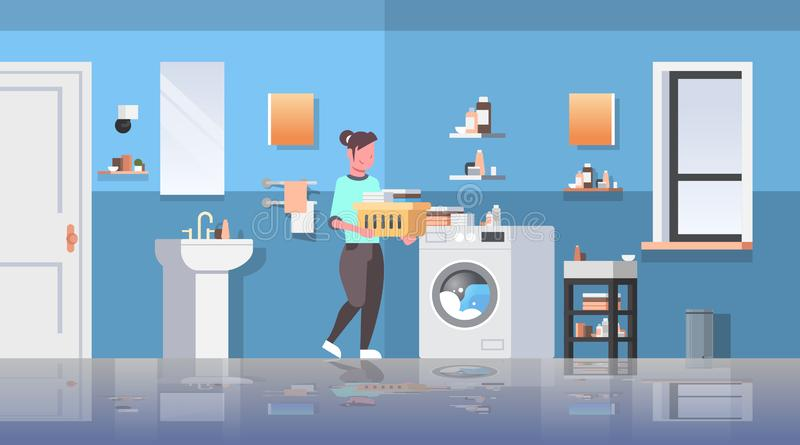Woman with basket of clothes standing near washing machine housewife doing housework modern bathroom interior cartoon. Character full length flat horizontal royalty free illustration