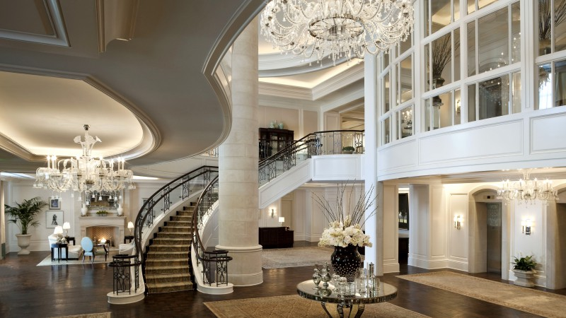 Mandarin Oriental Hotel, classical, white, rich, castle, inside, stairs, room, living room, fire, comfort, place (horizontal)