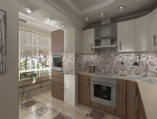 combined kitchen with balcony